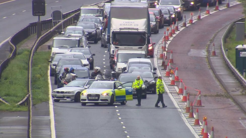 M1 reopens after fallen power cables cleared