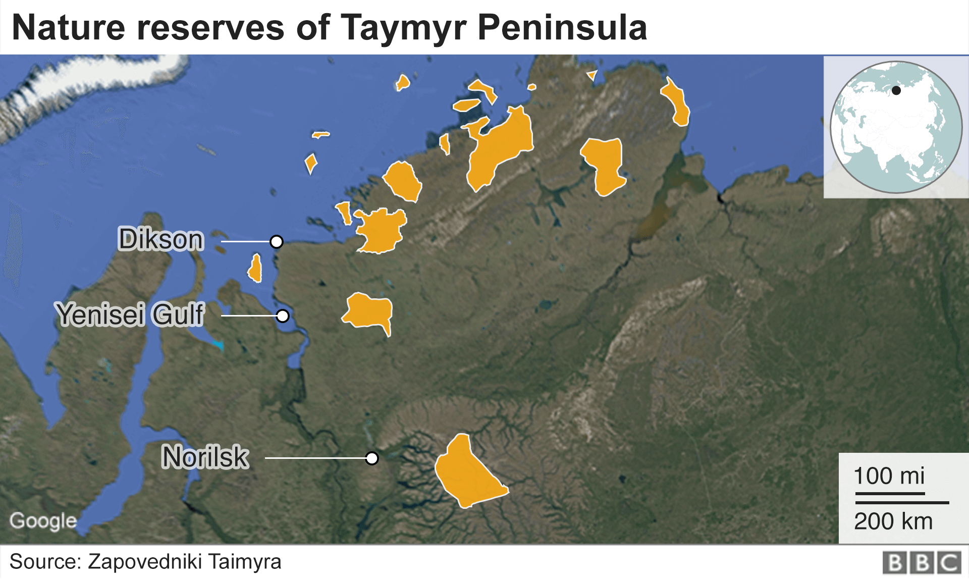 Russia map showing Taymyr nature reserves