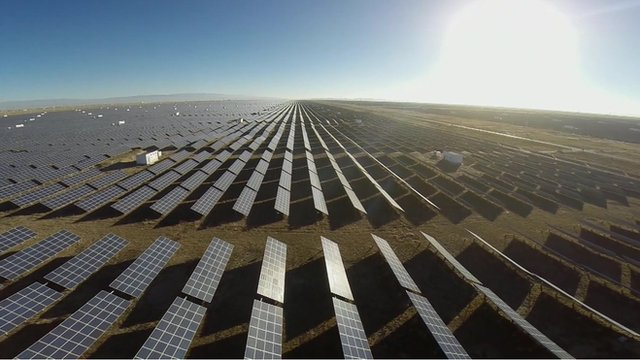 Thousands of solar panels fill fields in the Qinghai-Tibet plateau