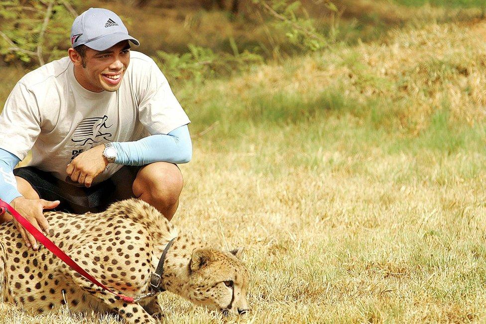 Bryan Habana crouches next to a cheetah