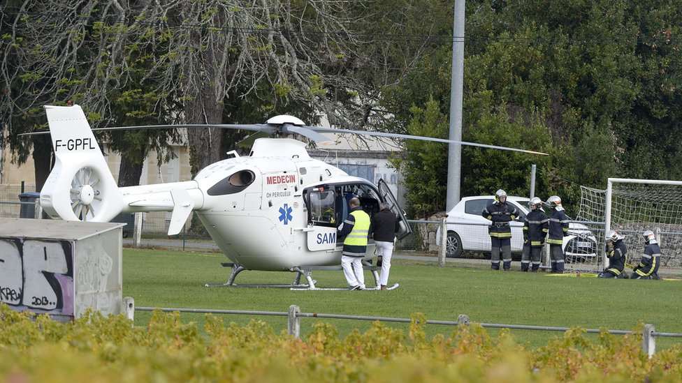 Emergency service helicopter ready for take off in Puisseguin, near Bordeaux, on 23 October 2015