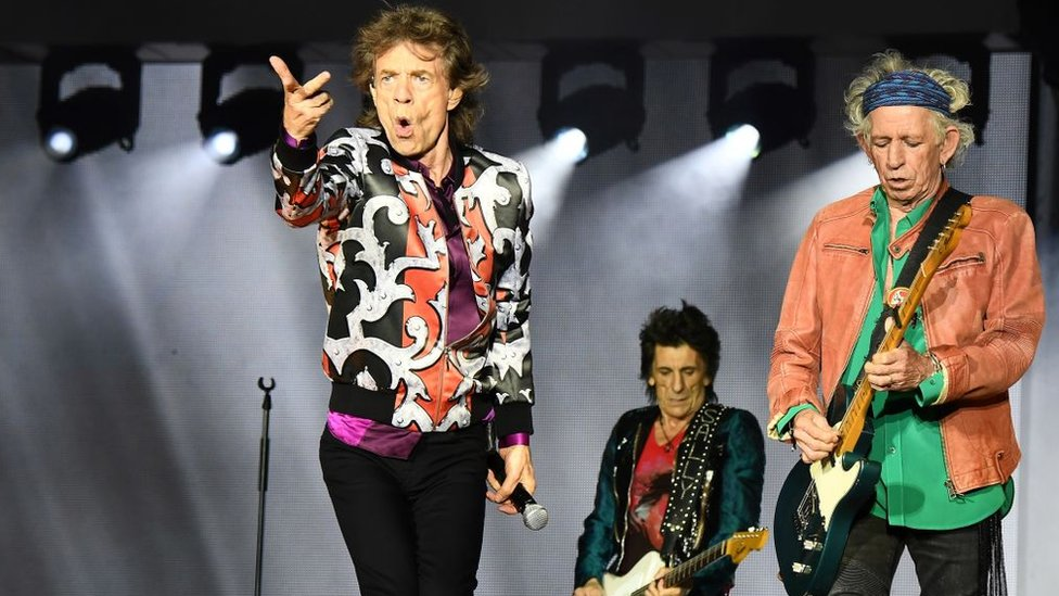 Mick Jagger, Ronnie Wood y Keith Richards en concierto en Marsella.