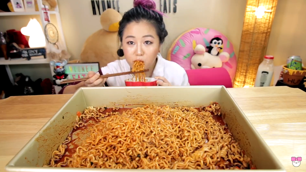 Hyunee eating noodles