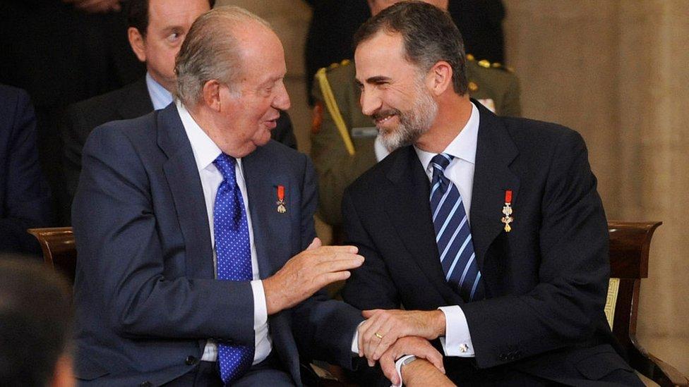 King Felipe, right, and former King Juan Carlos