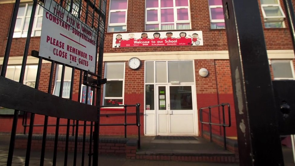 The entrance to Parkfield Community School