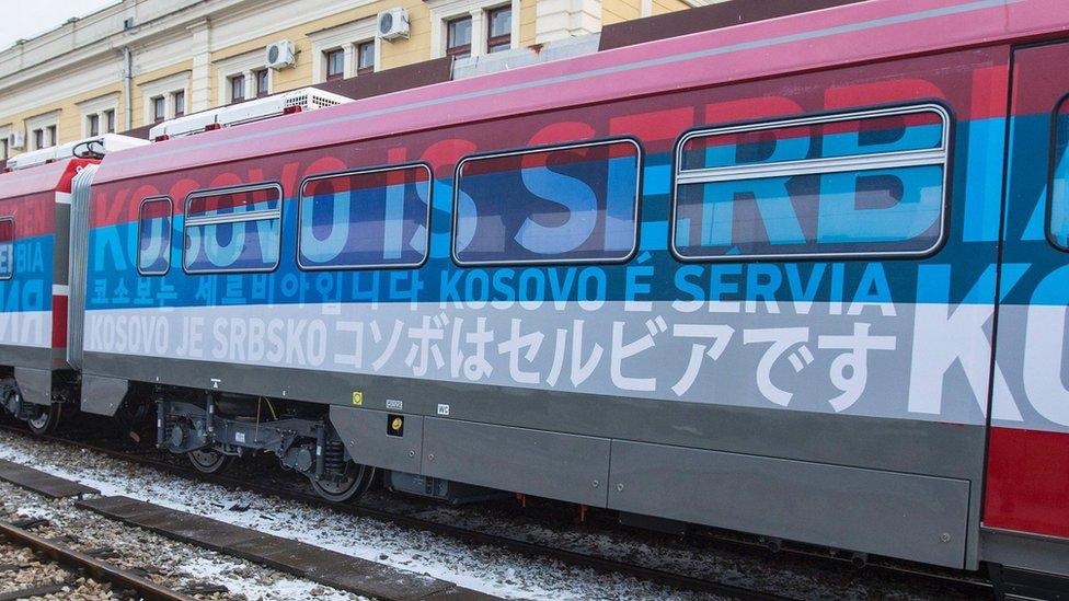 Srpski voz za Mitrovicu na beogradskoj železničkoj stanici, januar 2017