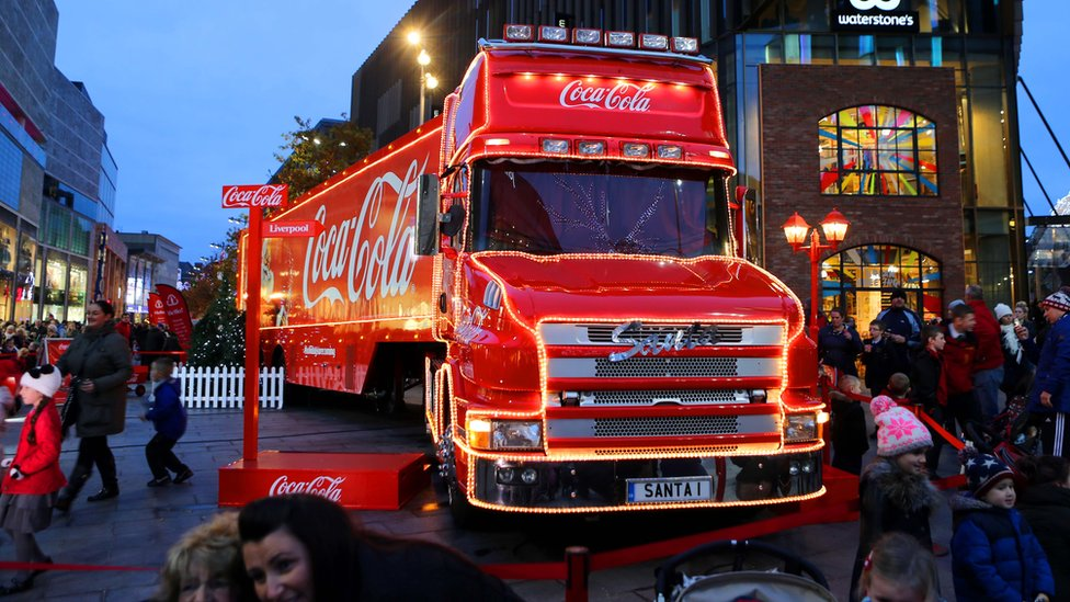 Coca-Cola Christmas truck in Liverpool city centre