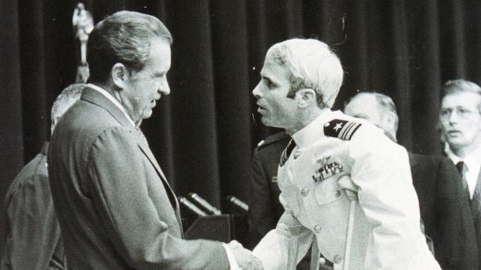 President Nixon welcoming John McCain back after his release from Hanoi