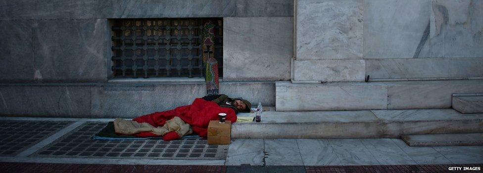 homeless man in Greece