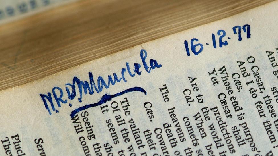 Nelson Mandela's inscription in the Robben Island copy of Shakespeare