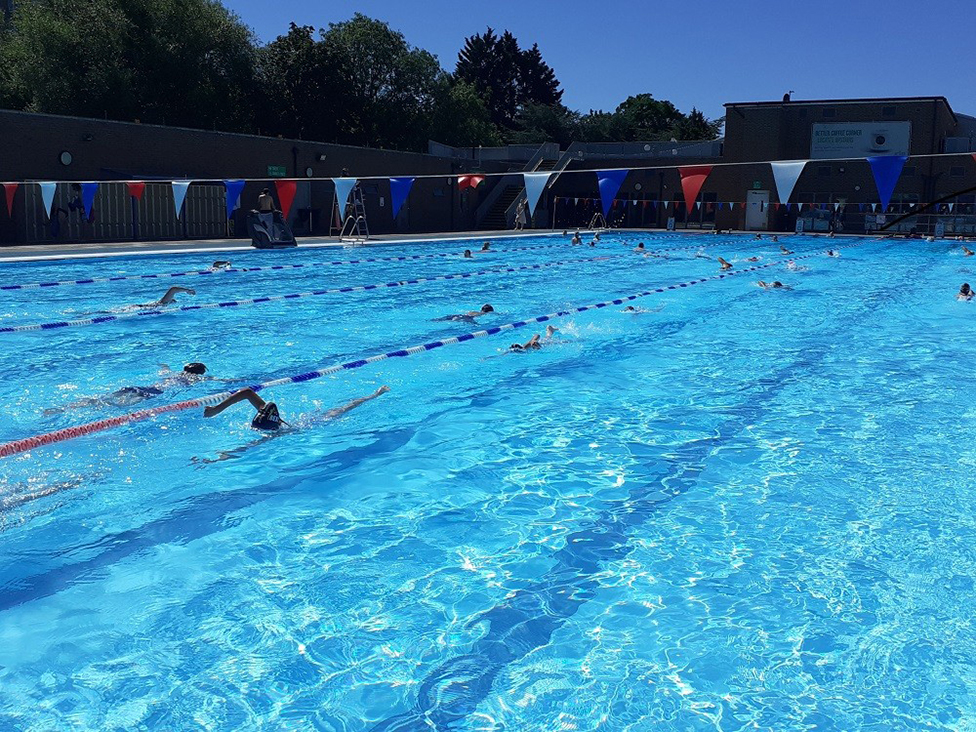 Swimmers at Charlton Lido, south-east London