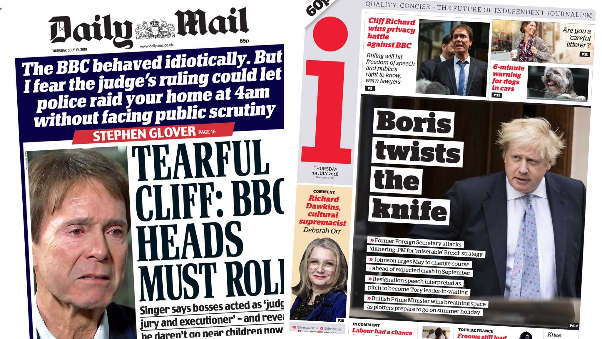 The Papers: 'Tearful Cliff' and 'Boris twists the knife'