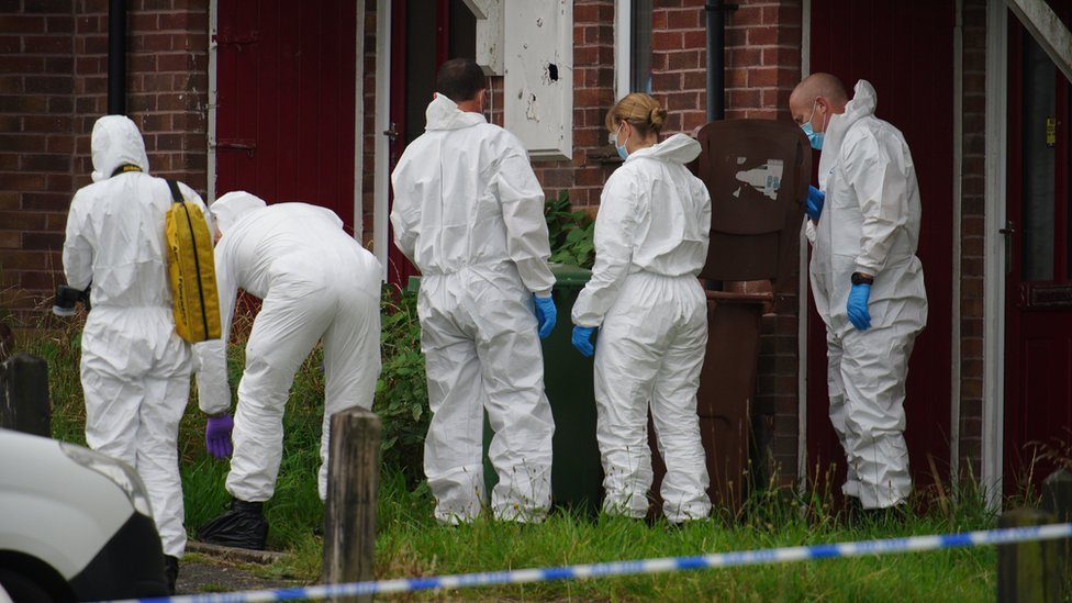 Forensic team at scene in Keyham, Plymouth