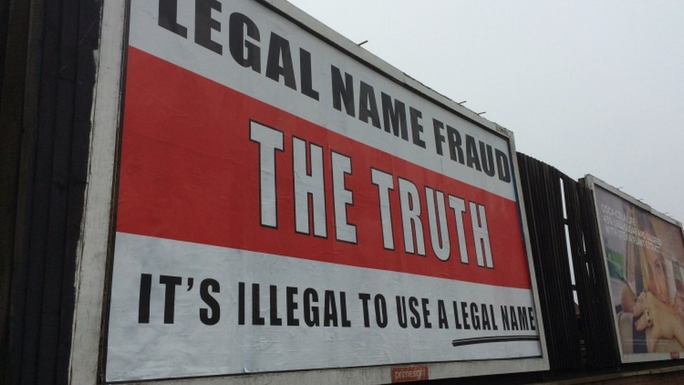 """Legal name fraud"" poster in Great Yarmouth"