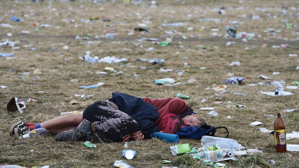 Aftermath scene of a festival