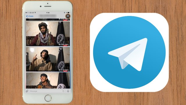 """Official IS Telegram """"channel"""" and the Telegram logo"""