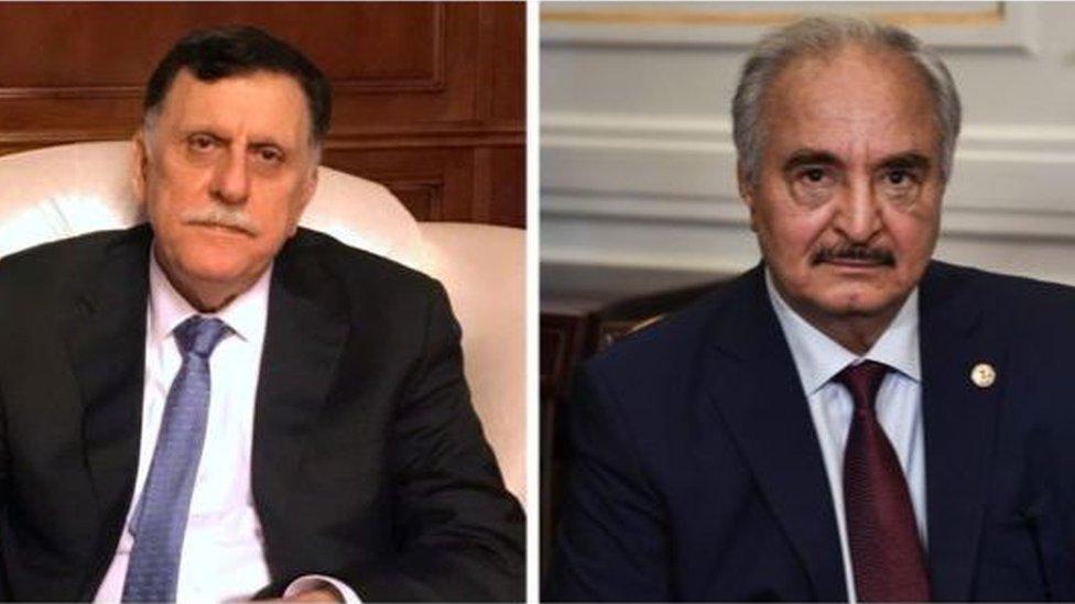 利比亞內戰中的交戰雙方領導人薩拉傑總理和哈夫塔爾將軍