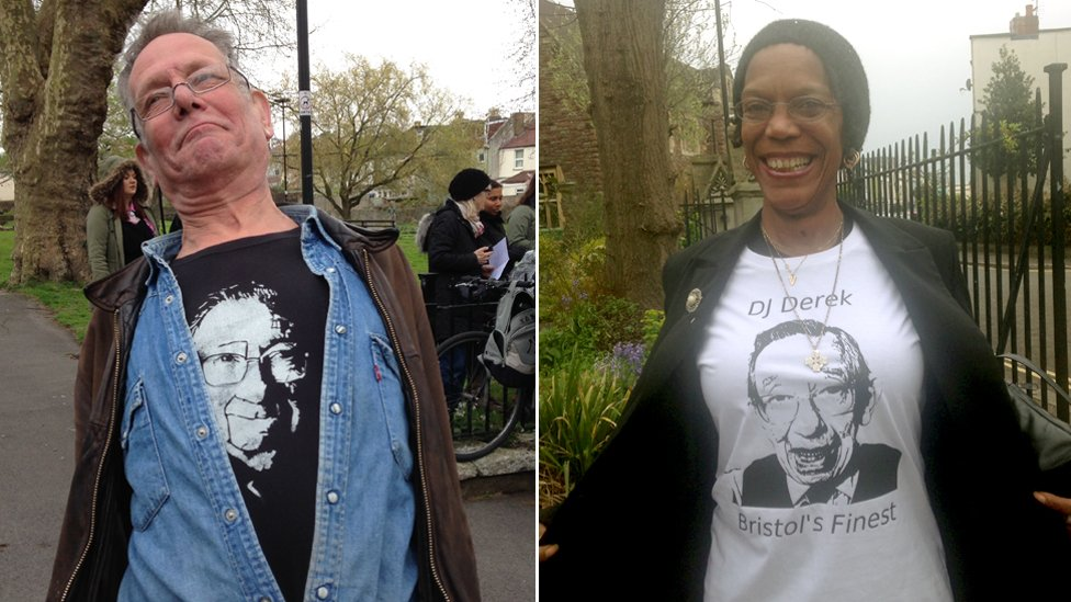 Some well-wishers wore DJ Derek themed t-shirts