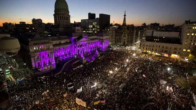 People demonstrate against gender violence outside the National Congress in Buenos Aires