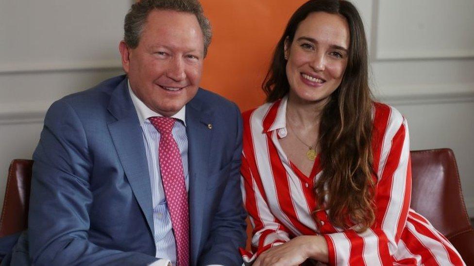 Australian philanthropist Andrew Forrest and Jess Mills, daughter of Baroness Tessa Jowell