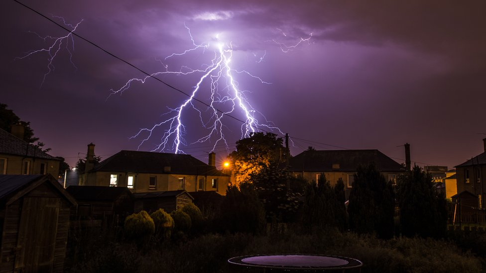 Lightning above a garden in Edinburgh