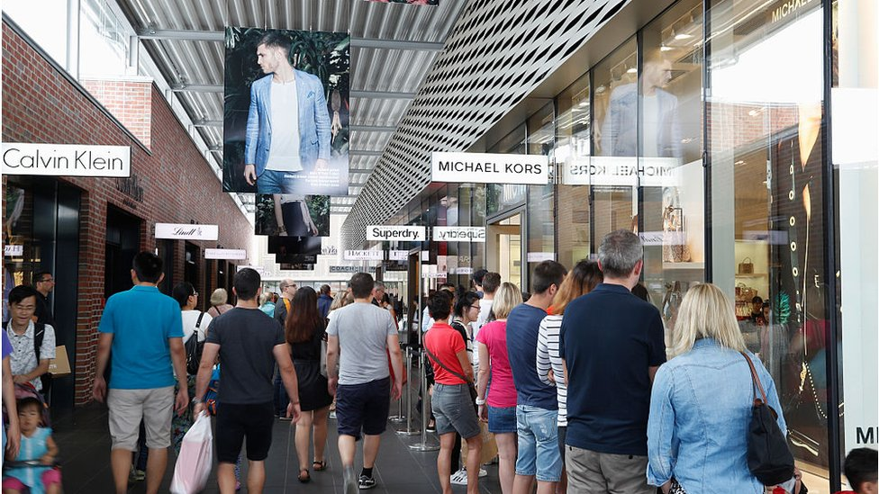 German Shoppers at mall in Metzingen, Germany
