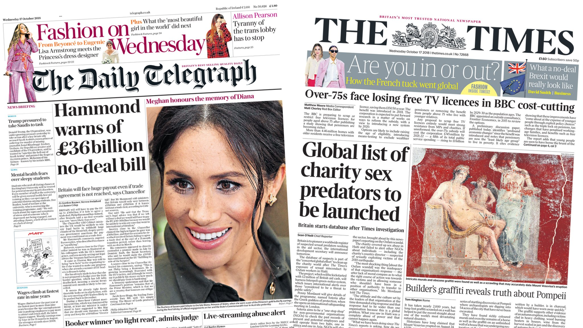 Newspaper headlines: 'No-deal Brexit could lead to £36bn bill'