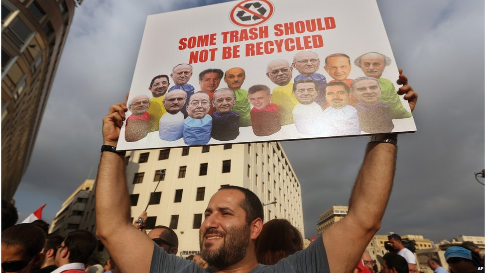 Protester in Beirut, 22 August 2015