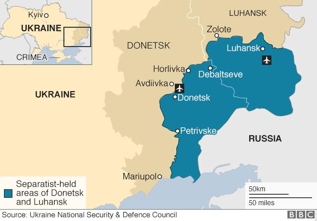 Map of eastern Ukraine