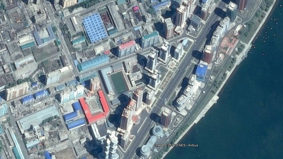 A satellite image showing Mirae Scientist Street, a housing project in downtown Pyongyang