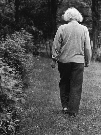 Einstein de espaldas caminando,.