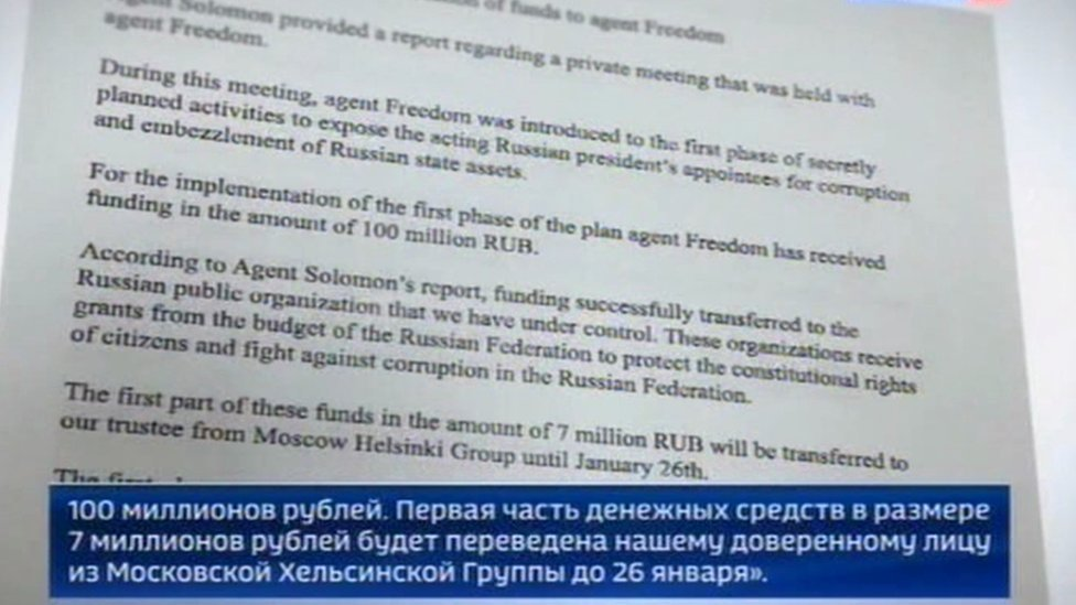 Screengrab of documents shown by Rossiya 1