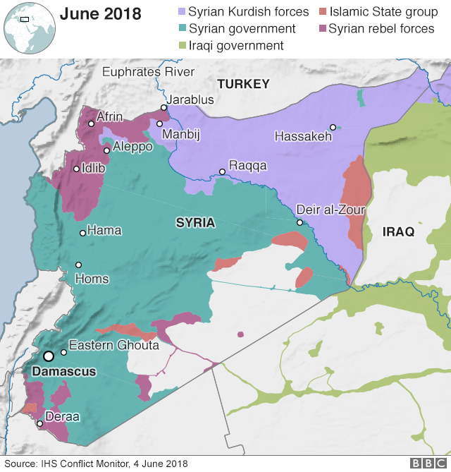 Map showing control of Syria on 4 June 2018