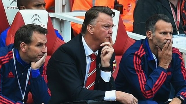 Louis Van Gaal (centre) looks on as his side lose 3-0 to Arsenal