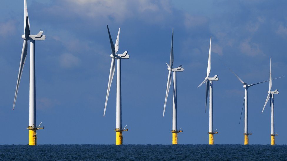 Wind turbines off the Sussex coast