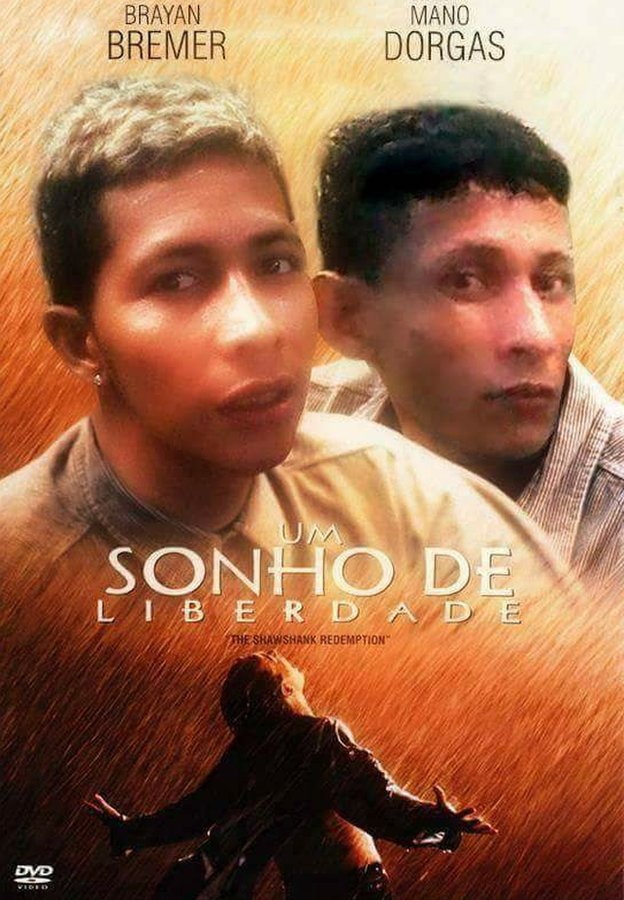 A film poster of The Shawshank Redemption (Portuguese title: Um Sonho de Liberdade) made up to look like it stars Bryan Bremer