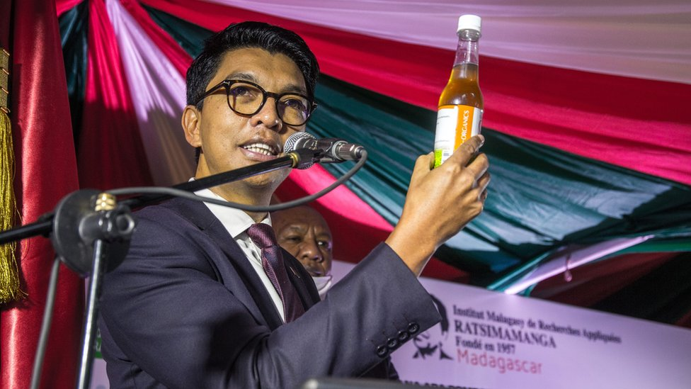 "The President of Madagascar Andry Rajoelina attends a ceremony to launch ""Covid Organics"" or CVO, in Antananarivo, on 20 April 2020."
