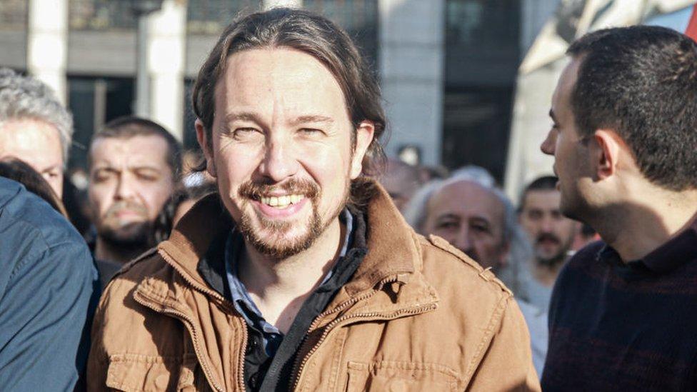 Pablo Iglesias durante una concentración en la Puerta del Sol, en Madrid.