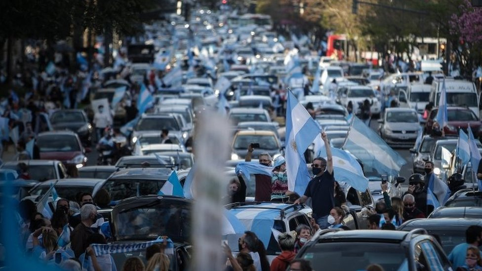 Thousands demonstrate against the Government of Alberto Fernandez, the quarantine and the reform of the Judicial Power, in front of the Obeslico of the city of Buenos Aires, Argentina, 12 October 2020