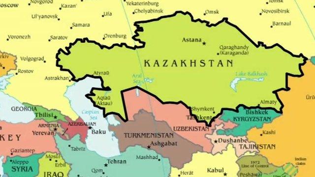 Kazakhstan shown on a map