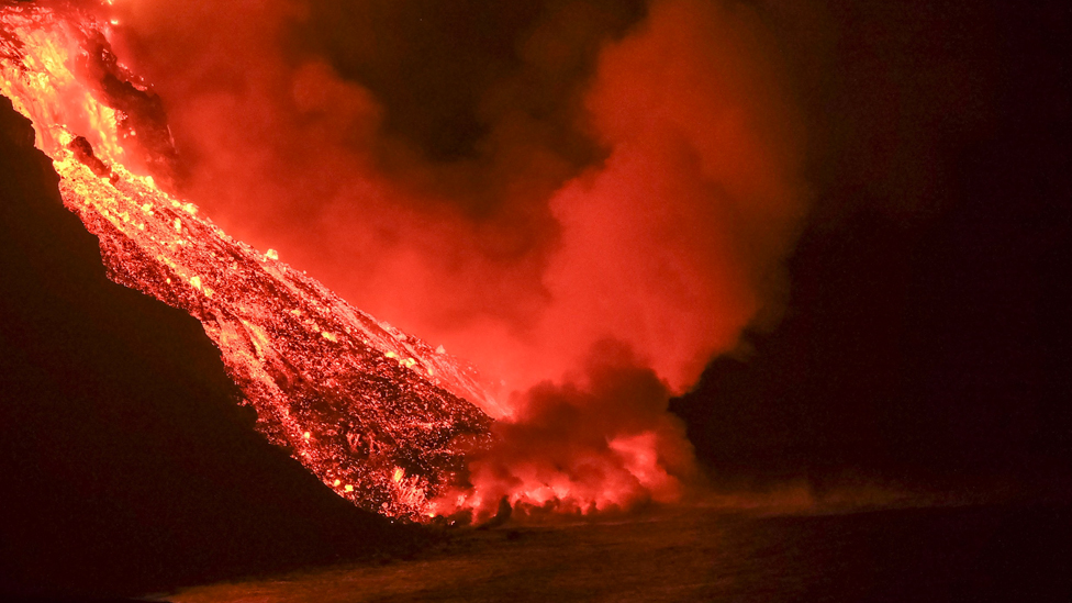 Lava reaches the sea in an area of cliffs next to Tazacortes coast in La Palma, Canary Islands, 28 September 2021
