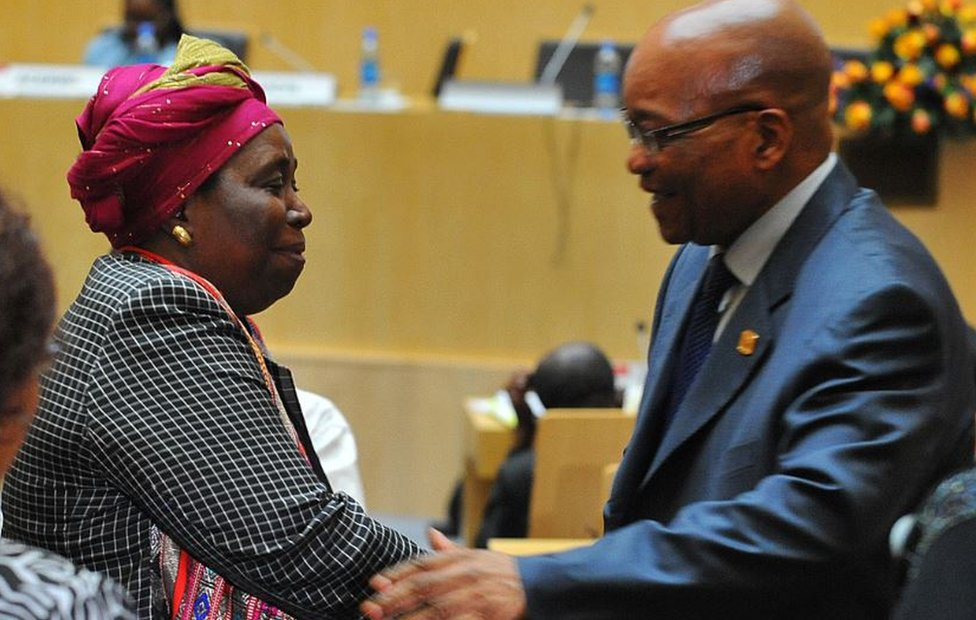 South African interior minister Nkosazana Dlamini-Zuma is congratulated by her former husband, South African President Jacob Zuma, on July 16, 2012 in Addis Ababa after sworned in as head of the African Union (AU) Commission