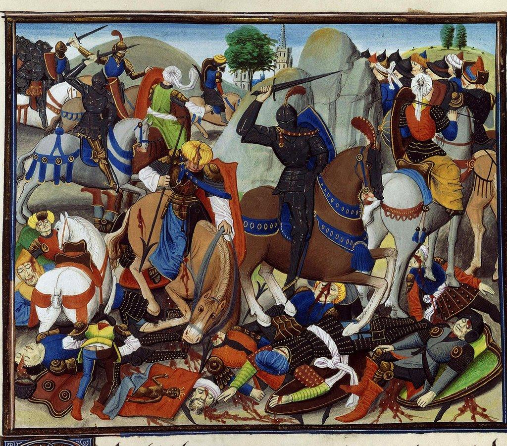 La batalla contra los infieles. La caída de Constantinopla, 1453, 1462-1465. (Ilustración encontrada en la colección de la Bibliothèque Nationale de France).