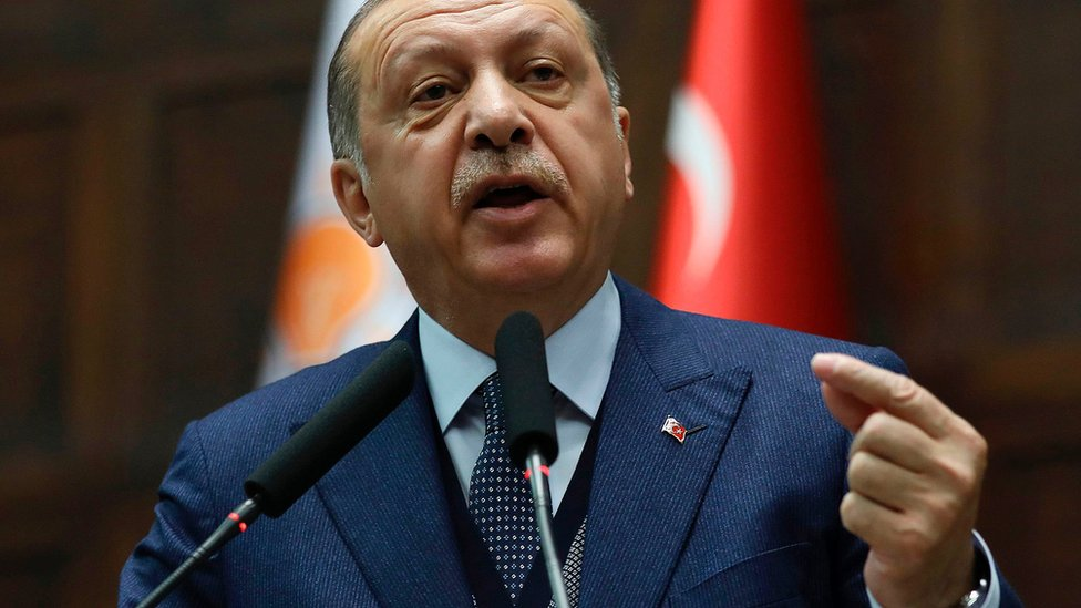 Turkish President Recep Tayyip Erdogan delivers a speech to a meeting of his ruling AK Party in parliament on 13 June 2017