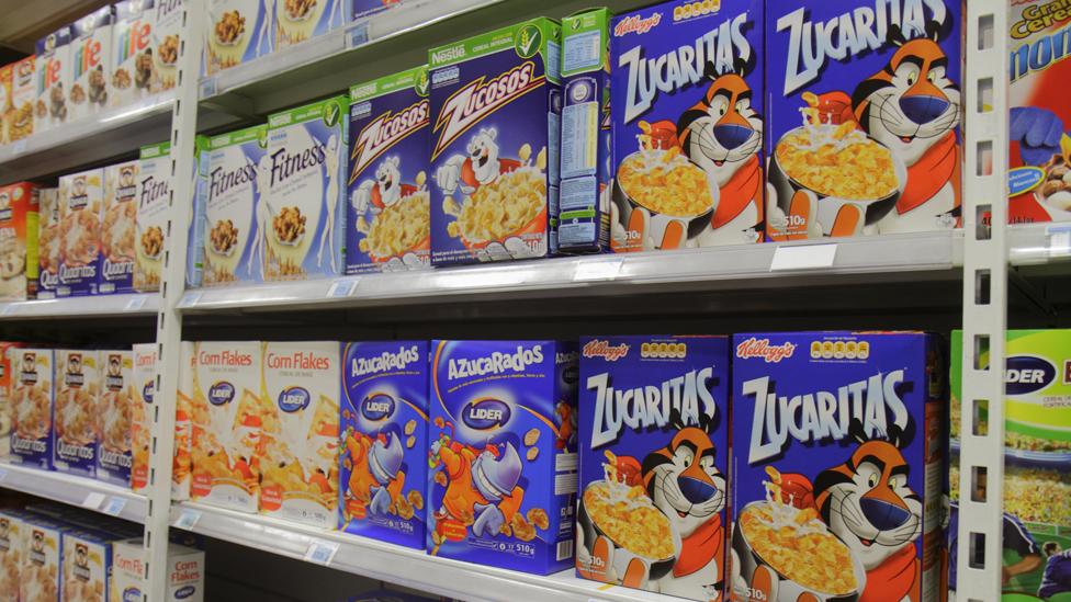 Caja de cereal en Chile
