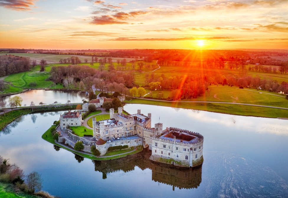 An aerial view of Leeds Castle during lockdown