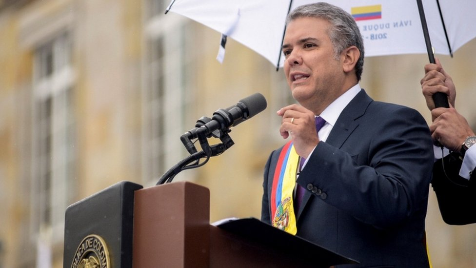 Colombian President Ivan Duque delivers a speech during his investiture ceremony at the Bolivar Square, in Bogota,