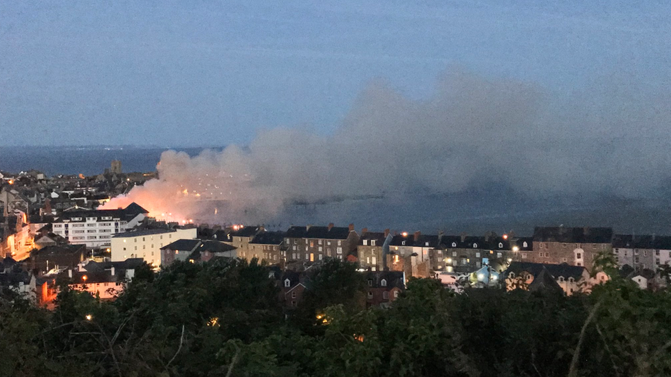 Fire along the Aberystwyth seafront from above