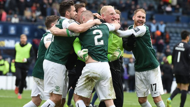 Hibs celebrate their Hampden victory