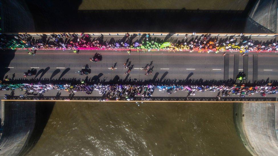 Spectators on London Bridge